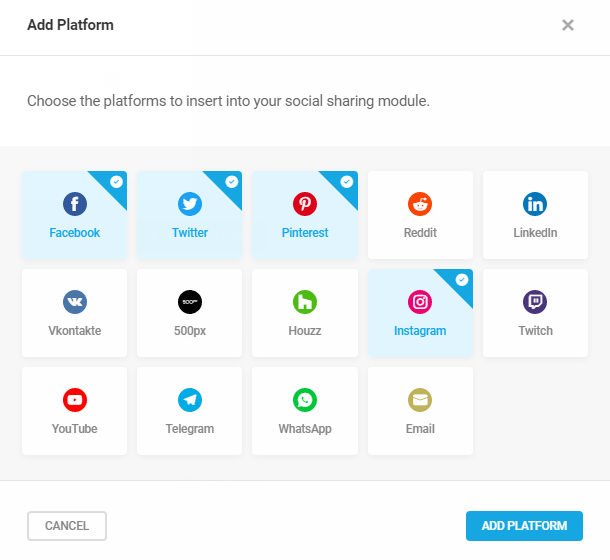 Available social platforms in Hustle social sharing module