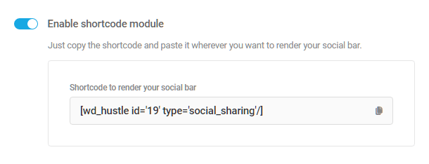 Shortcode available for Hustle social share module