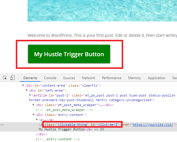 Identify an element's CSS selector to use as a Hustle module trigger