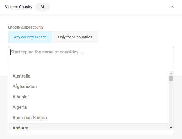 Visitor country visibility condition in Hustle modules