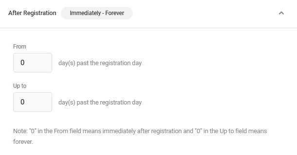 After registration visibility condition in Hustle modules