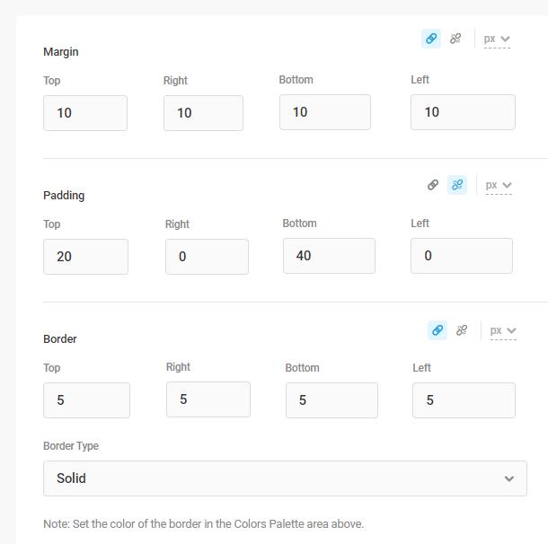 margin padding and border settings