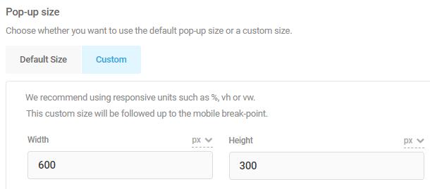 pop-up custom size