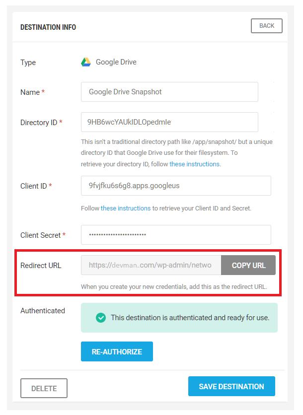 Configure Google Drive destination in Snapshot