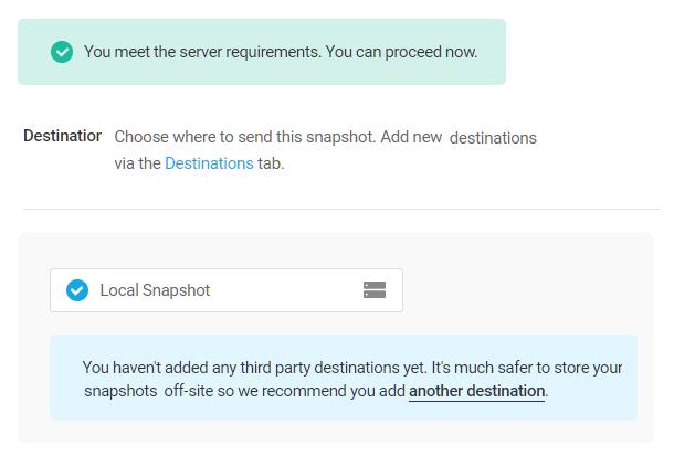 Snapshot server requirements passed