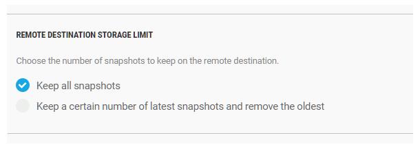 Set remote storage limit in Snapshot