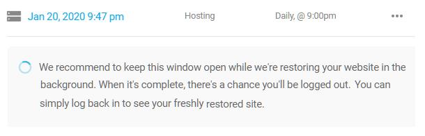 Snapshot backup restore in progress