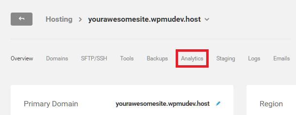 Hosting analytics tab