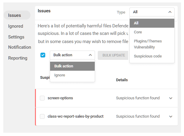 Sorting options in Defender malware scan issues