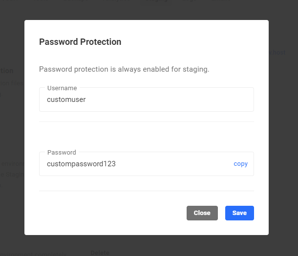 Password protection username and password changes