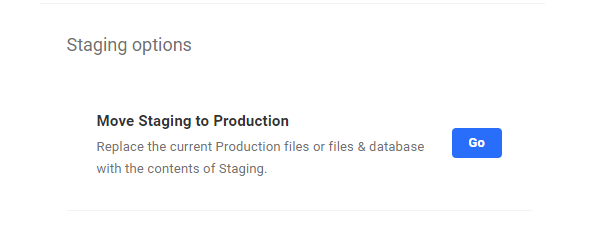 Push Staging to production button
