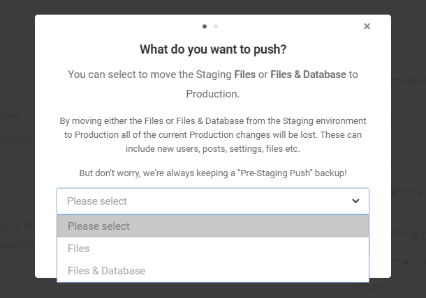 pushing staging to production