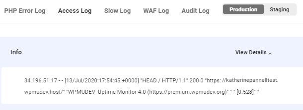 WPMU DEV access log