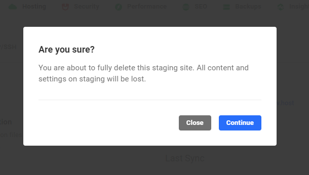confirm staging delete