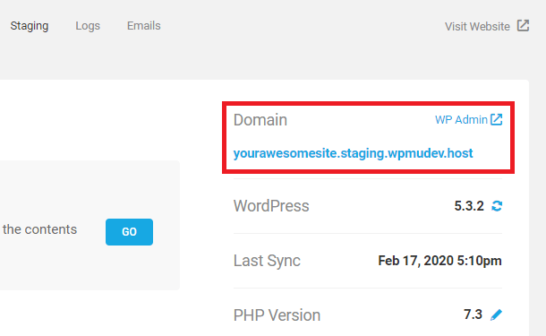 New staging domain hotlink