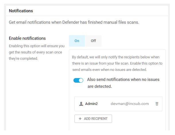 Enable notifications in Defender malware scanning