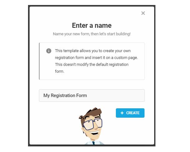 Name your custom registration form in Forminator