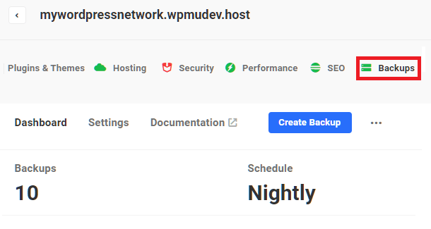 Hub 2.0 Backup tab overview screen