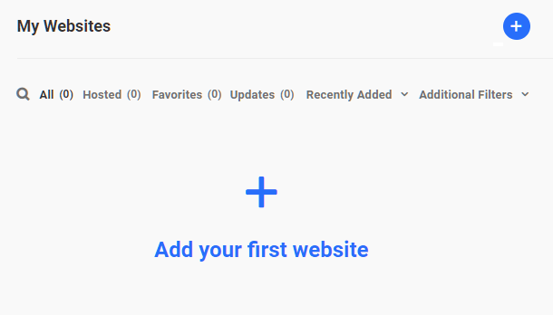 Hub 2.0 Add First Website Button
