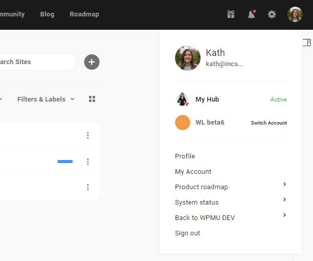 account settings in the Hub