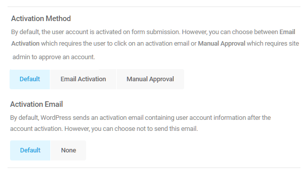 Select user account activation method in Forminator registration form