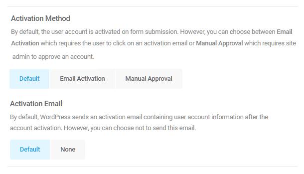 Select user account activation method in Forminator registration form