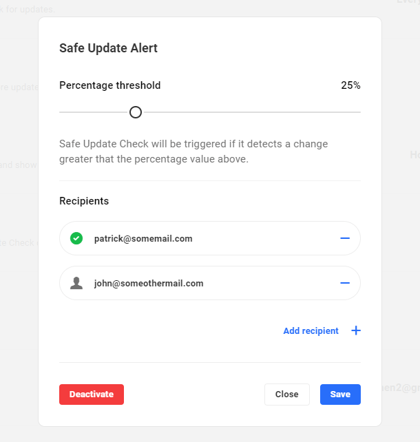 Automate safe update alert email recipients