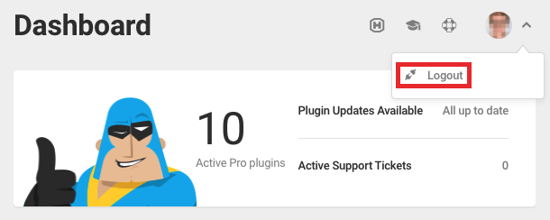 Click 'Logout' to logout from the WPMU DEV account connected to the Dashboard