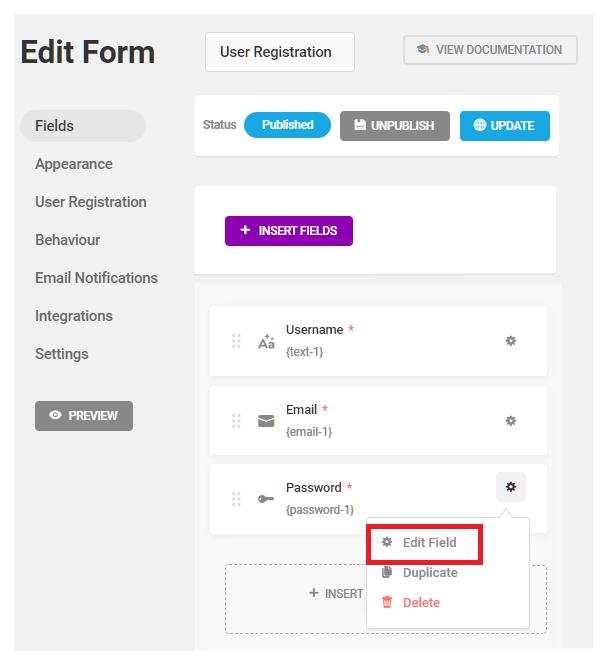 Edit password field in Forminator registration form