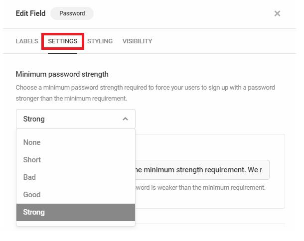 Set minimum password strength in Forminator registration form