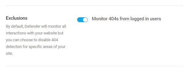 Exclude logged-in users from 404 detection in Defender firewall