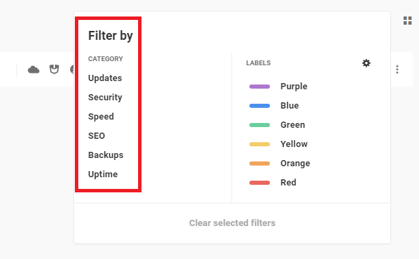 filters and labels list