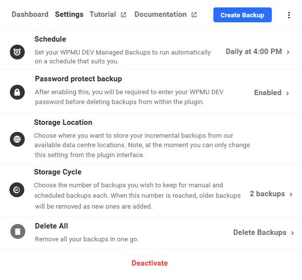 Hub backup settings tab