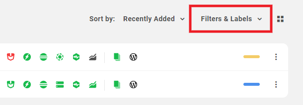 Site filters and labels in the Hub