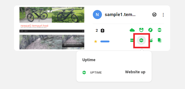 Uptime icon in My Sites grid view