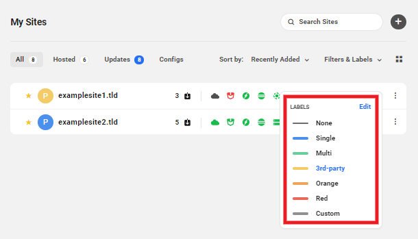 Choose the label for your site in the Hub