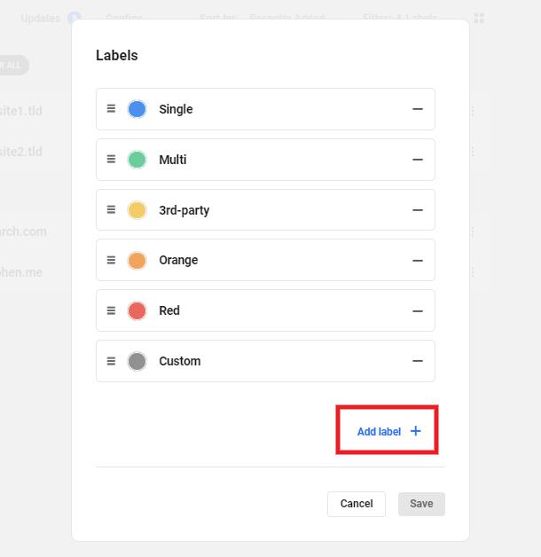 add new label button