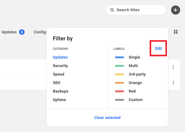 Edit filters and labels in the Hub