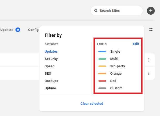 Filter sites by label in the Hub