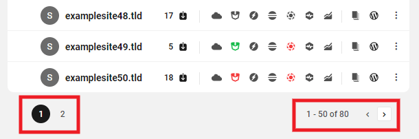 Pagination on My Sites screen in the Hub