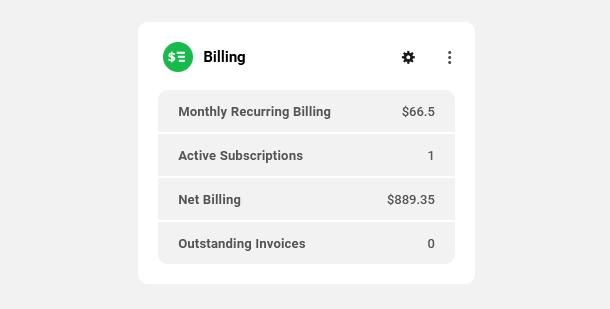 Client Billing module client view