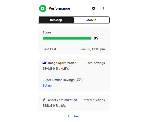Hub site overview performance module