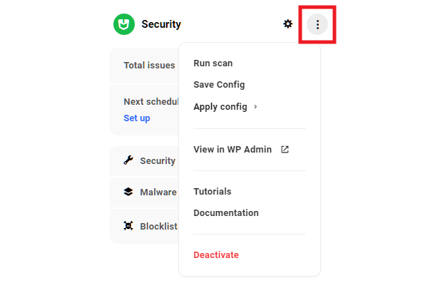 Hub site overview security module options