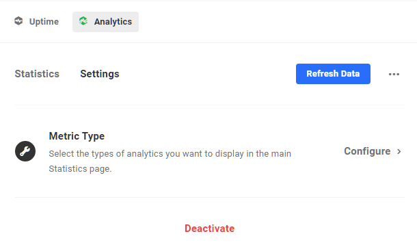 Settings screen for Hub 2.0 analytics