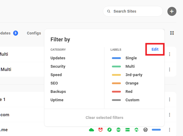 Edit filters and labels in Hub 2.0