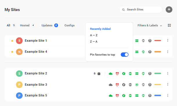 Site favorited in Hub 2.0 list view