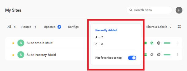 Hub 2 site sorting options