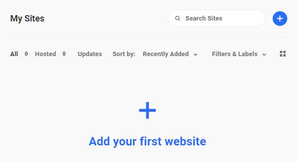 Hub 2.0 Add First Website Button
