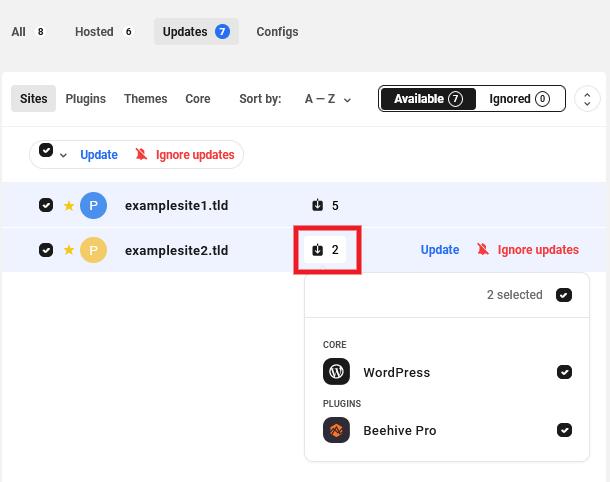 Hub 2.0 select plugins to update per site