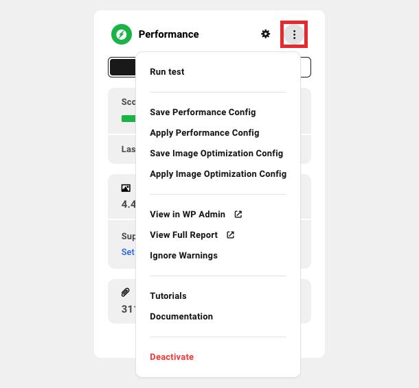 Performance module settings dropdown menu